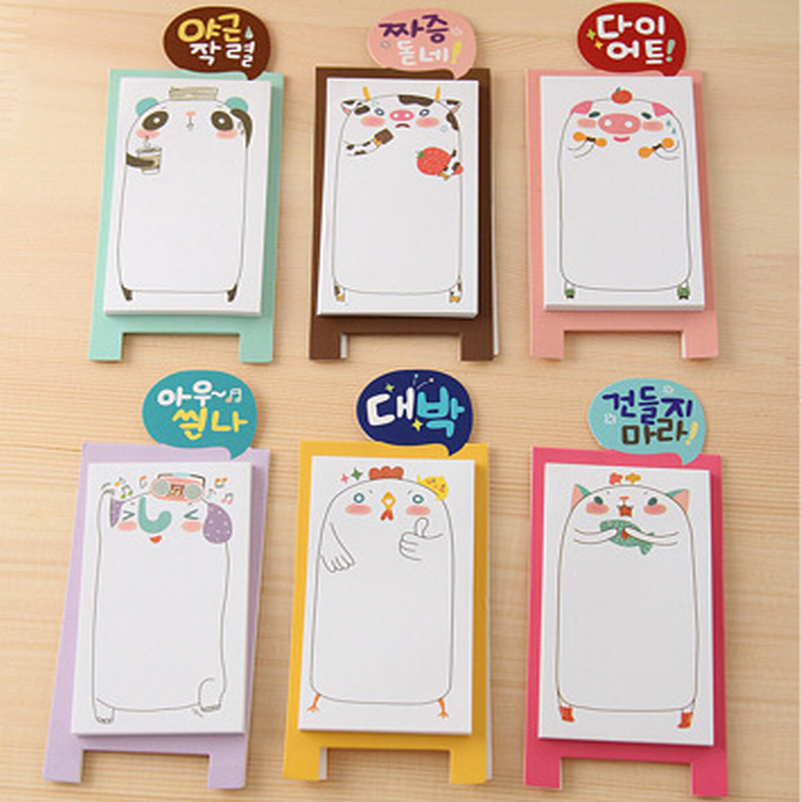 500x diy verticle stand adhesive carton paper sticky notes and memo pads sticker cute lovely animal post it note school supplies