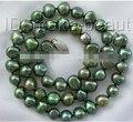 1577 9 мм барокко зеленый пресноводных культивированный жемчуг ожерелье