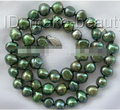 1577 9mm baroque green freshwater cultured pearl necklace