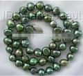 1577 9mm collar de perlas cultivadas de agua dulce barroca verde
