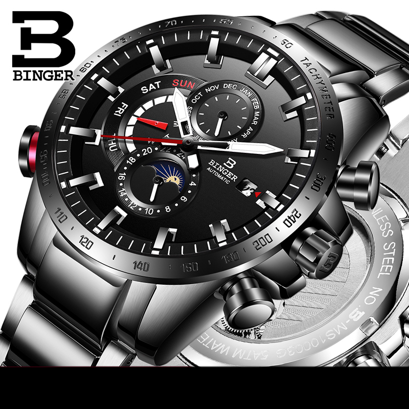 Switzerland Automatic Watch Men Top Brand Luxury BINGER Mechanical Mens Watches Military Clock Relogio Masculino montre homme