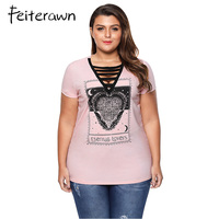 Feiterawn 2018 Summer V Neck Letter Print Plus Size T Shirt Sexy Women Casual Short Sleeve