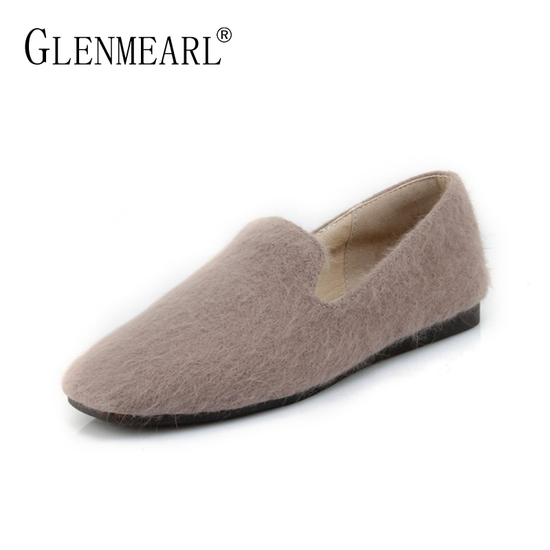 New Women Flats Shoes Brand Spring Autumn Round Toe Woman Single Shoes Black Warm fur Flats Woman Large Size Casual Loafers DE стоимость