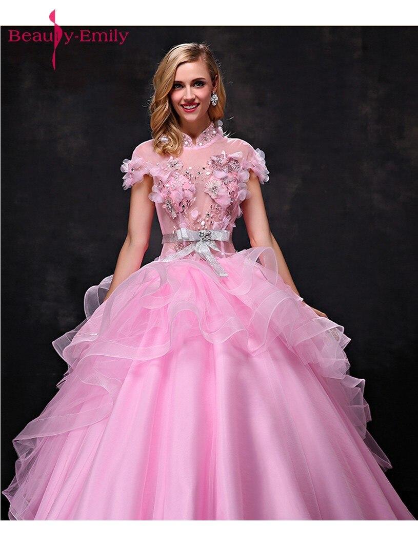 Գեղեցկուհի Էմիլի Pink Long Ball Gown Quinceanera - Հատուկ առիթի զգեստներ - Լուսանկար 3