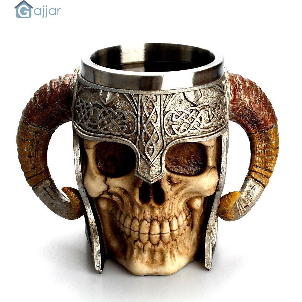 La maison Tasses D'eau 3D Café Tasse Frappant Guerrier Chope Viking Crâne Double Mur Halloween Tasse Tasse Créative Tasses DropshipingAug1