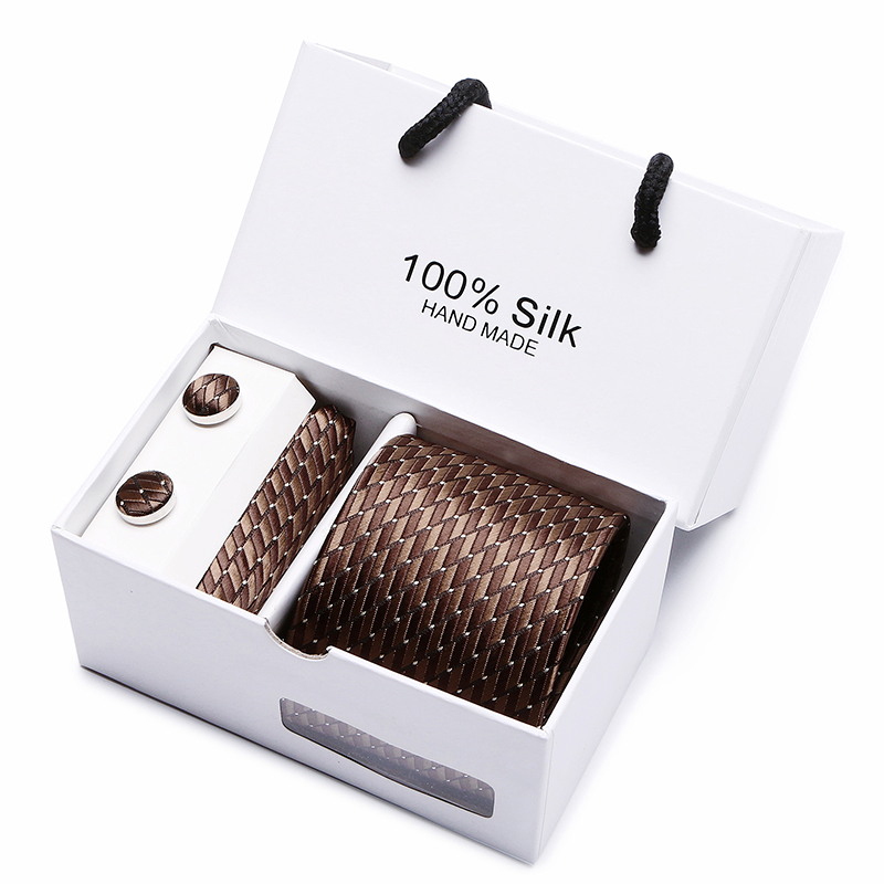 Joy Alice Mens Ties Brown Stripe Tie Hanky Cufflink Set Men's Business Gift Ties For Men Gravata Free Shipping Gift Box Packing