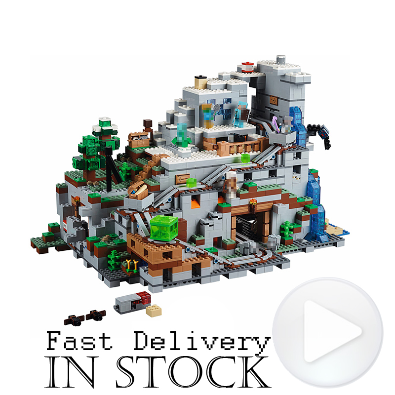 LEPIN 18032 The Mountain Cave Minecraft My World Building Blocks Bricks Toys For Boys oyuncak 2932PCS Compatible legoINGly 21137 lepin my world minecraft 18038 527pcs the nether portal building blocks bricks enlighten toys for children compatible with 21143