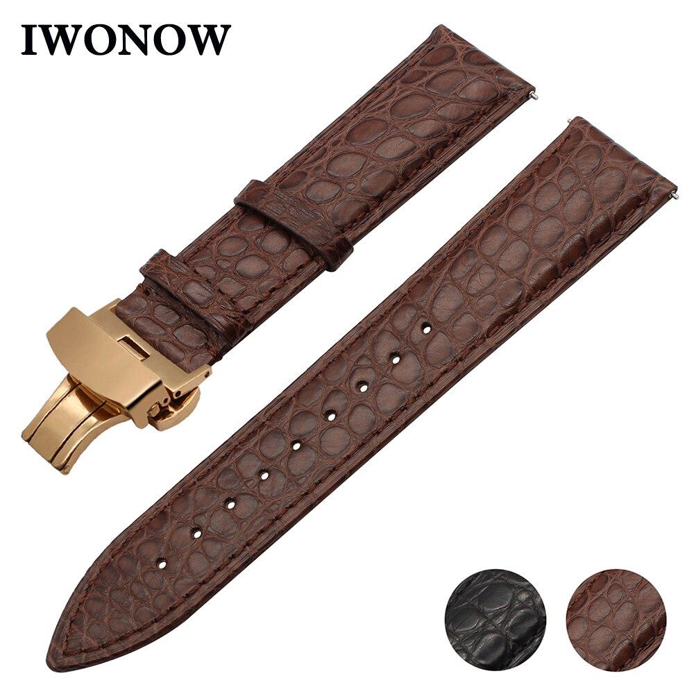 Bracelet de montre en cuir de Crocodile véritable 22mm pour Samsung Gear S3 Bracelet de montre frontière classique Bracelet de libération rapide Bracelet de ceinture de poignet