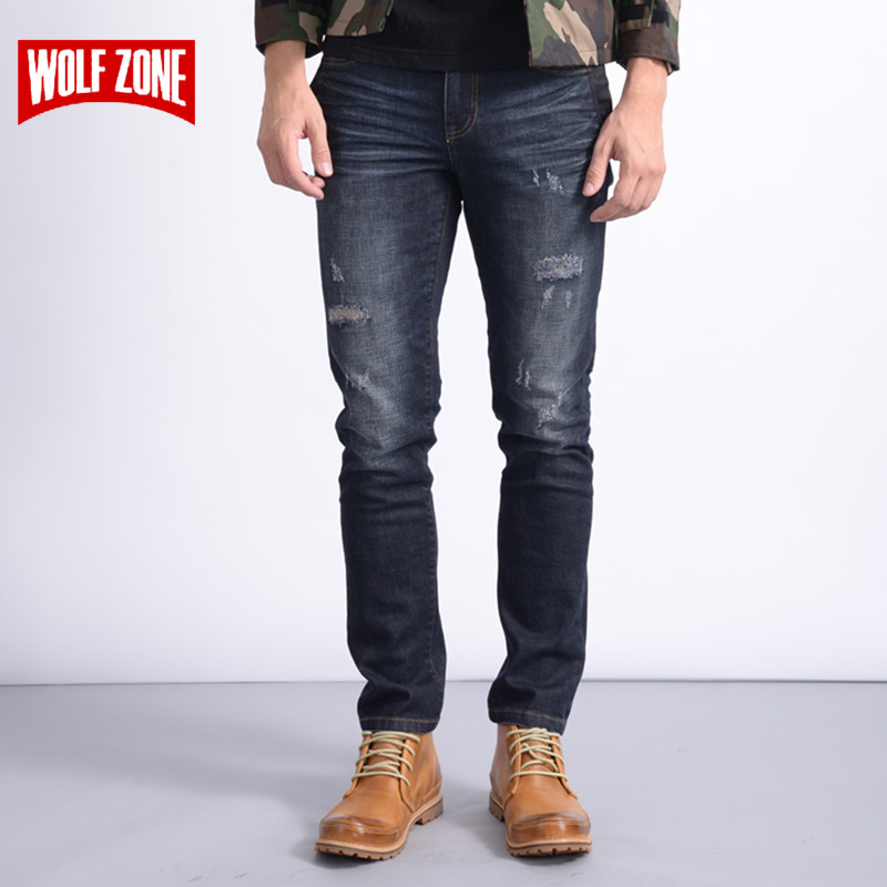 Hot Sale 2017 Distressed Jeans Men Cotton Homme Slim Mens Famous Brand Clothing Solid Mid Midweight Winter Autumn Full Length ...