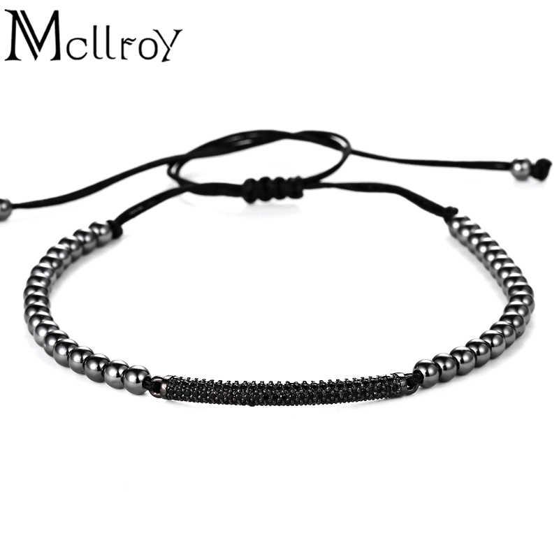 Mcilroy charms bransoletka mężczyzn tytanowa stal nierdzewna koraliki sznurowane trendy mężczyźni bransoletka na rękę przyjaciel sieraden pulseira feminina