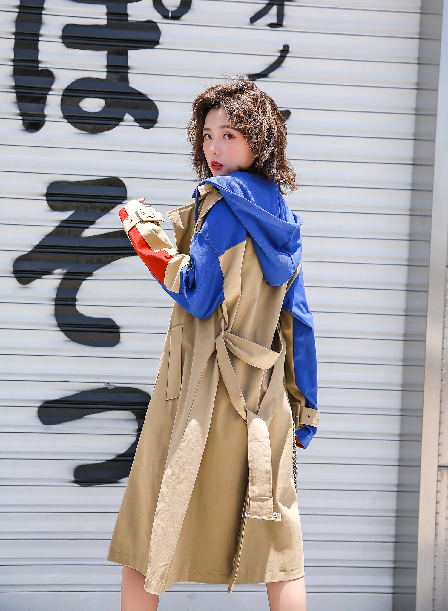 2019 autumn clothes for knee-length loose hoodie windbreaker Patchwork Color Waist With Belt Streetwear Women   Trench   Coat
