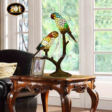 Lamparas Color Glass LED Table Lamp parrots Hand Made Desk Lamp Light Equivalent to 40w Lampe Deco for Balcony Living Room(China)