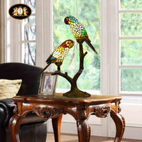 Lamparas Color Glass LED Table Lamp parrots Hand Made Desk Lamp Light Equivalent to 40w Lampe Deco for Balcony Living Room