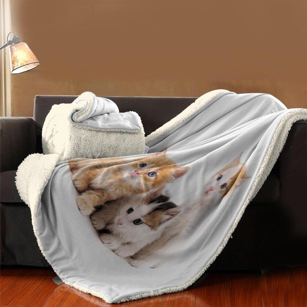Manta de dibujos animados textil para el hogar con estampado de gato para niños - 6