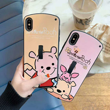 Luxury Cute 3D Cartoon Bear Arc Cases for iPhone 6 6s 7 8 plus X XR XS MAX Girl Finger Ring Holder Stand Soft Silicone