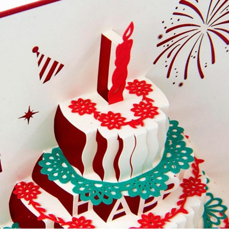 Handmade Xmas Tree 3d Birthday Cake Greeting Card Christmas Birthday