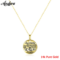 Authentic 14K Gold Fashion Necklace Simple Glossy Round Letter Pendant Necklaces Real Gold Jewelry Au585