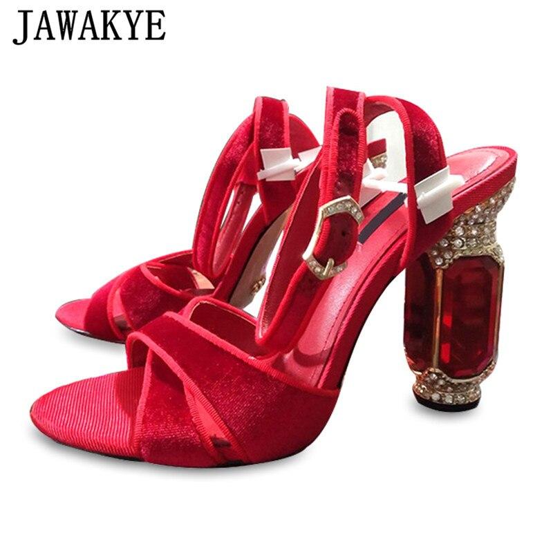 Rouge strass gladiateur sandales femmes Bling bling cristal diamant Chunky chaussures à talons en cuir véritable sandales chaussures de mariage dames-in Sandales femme from Chaussures    1