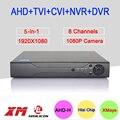 Caja de Metal Hi3521A XMeye 8 Canal 8CH 1080 P Full HD Video Vigilancia grabadora de 5 en 1 Hybrid NVR CVI TVI AHD DVR Envío Gratis