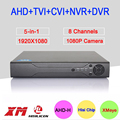 Metal Case Hi3521A XMeye 8 Channel 8CH 1080P Full HD Surveillance Video Recorder 5 in 1 Hybrid NVR TVI CVI AHD DVR Free Shipping