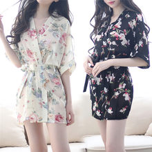 Chiffon Sleepwear Robe Floral Bathrobe Short Sexy Robes Night Bath Robe Fashion Dressing Gown For Women night dress(China)