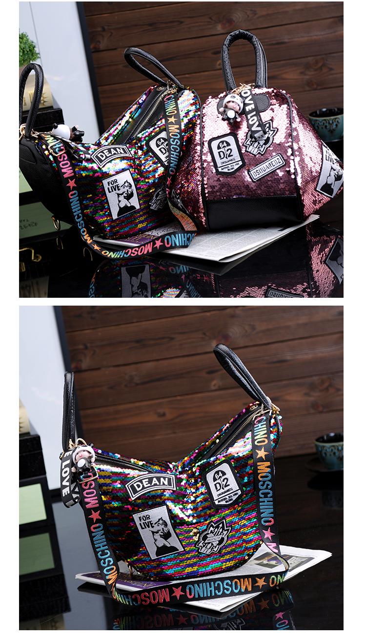 backpack women Fashion Women Bling Shiny Sequins Sparkling Shoulder Bags Larger Capacity Drawstring Bag backpack 85
