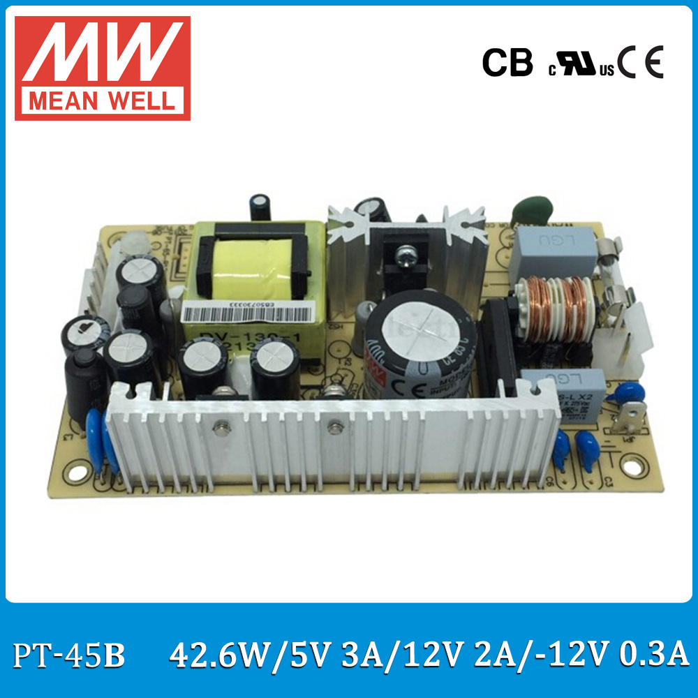 Original MEAN WELL PT-45B 45W triple output 5V 12V -12V Switching Power Supply open frame type PT-45 dhl eub 5pcs new mean well switching power supply d 60a 5v 12v 60w 015 17