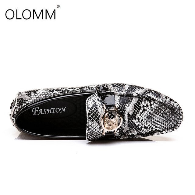 Men Loafers Driving Shoes Soft Casual Shoes Men Flats Men Shoes Leather Loafers Big Size 38-48 Male Slip on Snake Skin Shoes