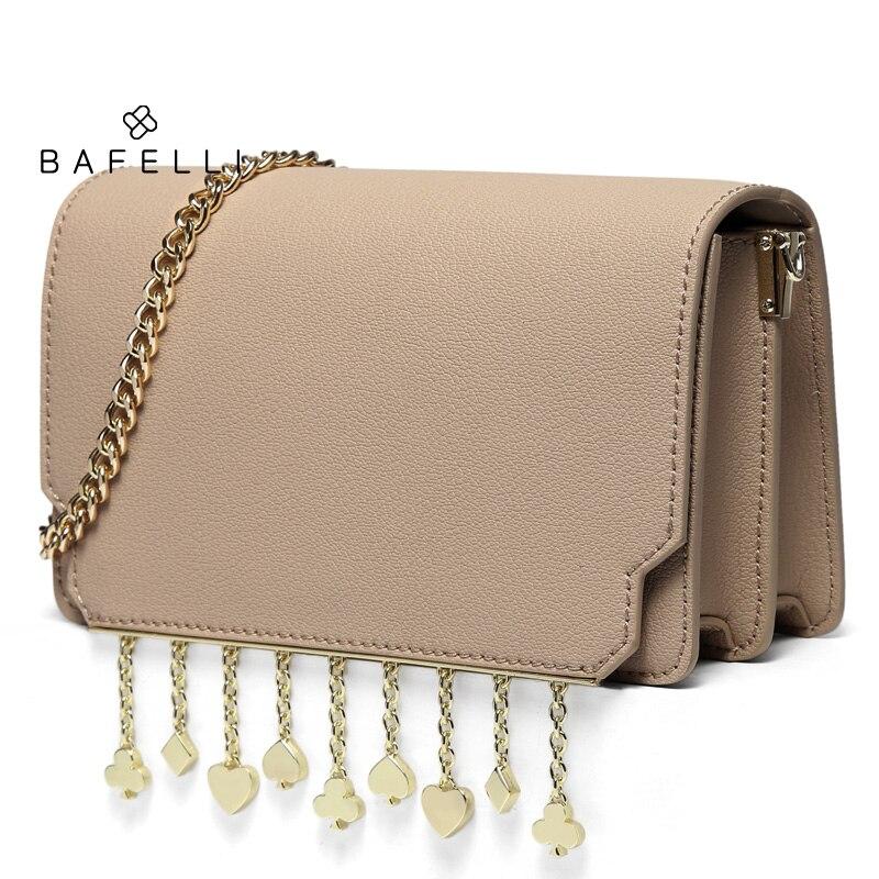 BAFELLI Bags for Women 2019 Women's Shoulder Bags Fashion Brand Messenger Bag New Arrival Flap Poker Metal Tassels Crossbody Bag