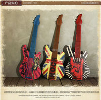 Wall sticker musical artistic wrought iron guitar Wall Decor iron wall mural wall decoration home decoration for Coffee Shop Bar