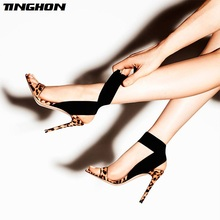 TINGHON 2019 Ladies Gladiator Sandals Flock Leather Thin Heels Leopard Solid Buckle Strap Sexy Womens Shoes With Heel Party