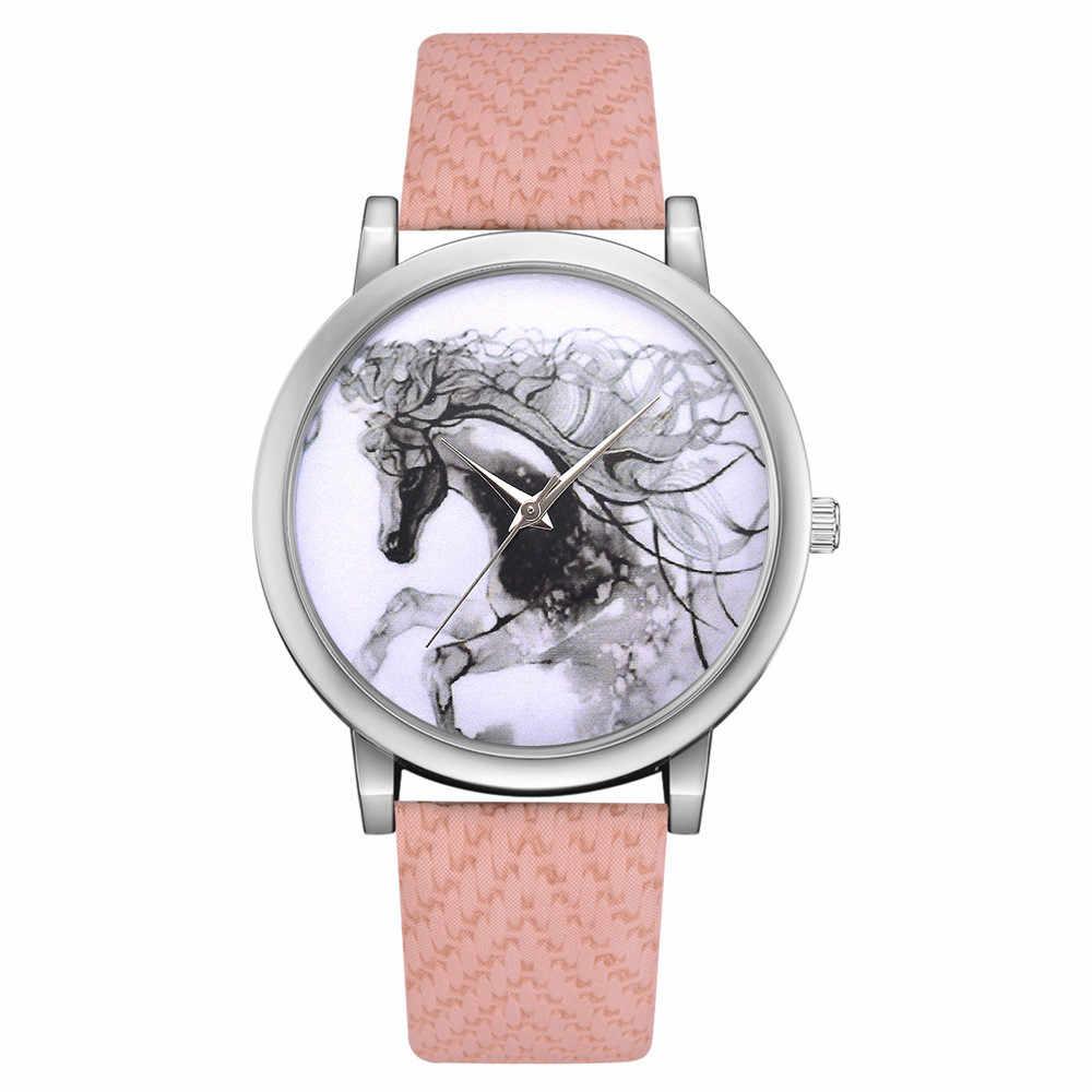 ผู้หญิงวินเทจเงินนาฬิกา Montre Femme Reloj Mujer สุภาพสตรีนาฬิกา PU หนังรูปแบบม้าควอตซ์รอบนาฬิกาข้อมือนาฬิกา