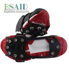 BSAID открытый ледяные поплавки захват 10 гвоздей, снежные кошки ремень скалолазание шипы Нескользящие сапоги силиконовая ледяная обувь с заклепками сцепление