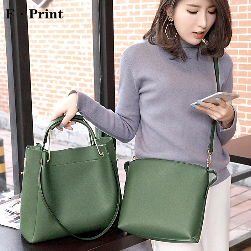2017 New 2 in 1 Women Handbag Female Korean Satchel Bag Simple Design Fashion Leisure Shoulder Bag Ladies Party Handbags popular handbag women simple shoulder bag vintage hand bag retro korean style 3 classic color satchel bag leisure locomotive bag