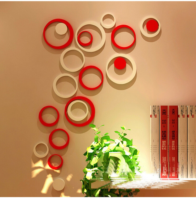 5pcs/1 Box Acrylic 3D Circle Wall Stickers Modern Home Decor DIY ...