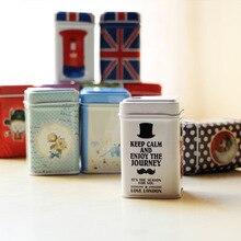 1 шт., винтажная Красивая цветная пасторальная железная коробка для хранения сакуры в цветочек, квадратная герметичная банка для кофе, чая, жестяной контейнер, ок 0119