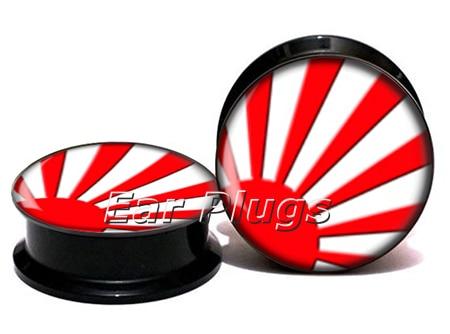 Wholesale Japanese sun flag plug gauges acrylic screw ear plug flesh tunnel piercing body jewelry ASP0787