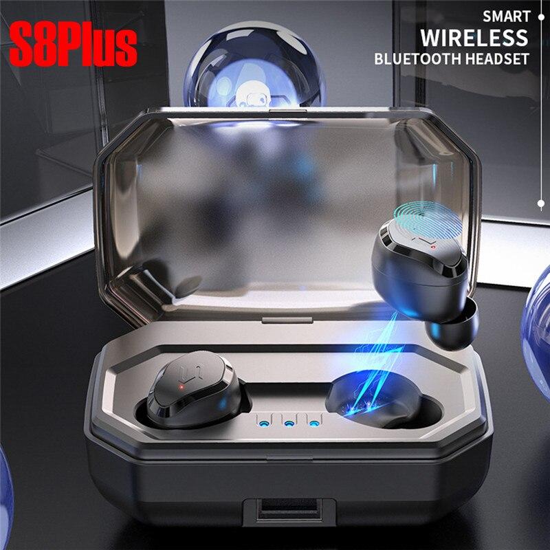 TWS-S8 PIÙ Auricolare Bluetooth Senza Fili di Tocco Mini Nuovo 5.0 Sport Senza Fili Binaurale Impermeabile 3000 mah Casella di Ricarica HIFI Audio