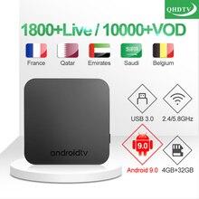 Full HD French IPTV KM9 Box Arabic Belgium Subscription Android TV 9.0 Code Qatar UK Germany Algeria Morocco IP