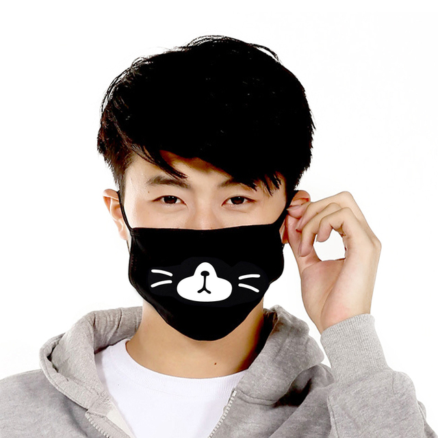 1PC Black Anti-Dust Cotton Cute Bear Anime Cartoon Mouth Mask Kpop teeth mouth Muffle Face Mouth Masks Women Men Dropshipping 5