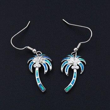 Noble palmera azul/blanco fuego ópalo pendientes joyería para dama