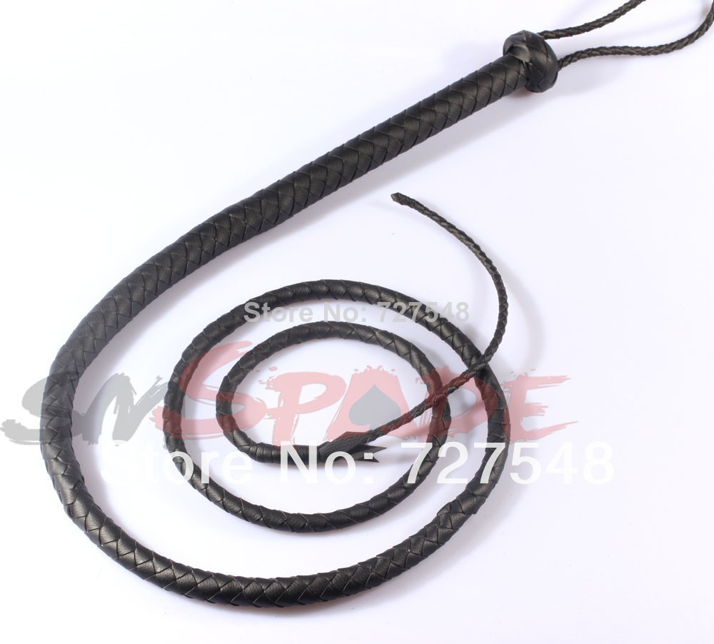 купить 5% off 2m faux leather bull whip for sex game adult sex product flirting toys handmade horse flogger whip all black по цене 4283.84 рублей