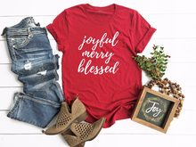 Joyful Merry Blessed Shirt Cute Christmas women fashion slogan casual red  aesthetic grunge cotton t-shirt quote party style tees 91debc70c3b1