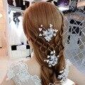 Palillos Del Pelo de Pelo de La Boda Tiara Nupcial de moda Simulado Flor de La Perla Accesorios de La Joyería Novia Casamento Acessórios para Mulher