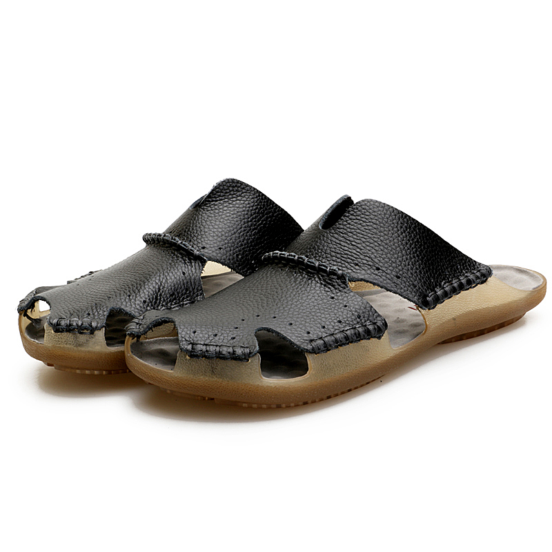 Fashion slippers men Designer terlik pantuflas mens shoes Male white slipper crocs shoes solid summer genuine leather slippers