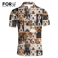 FORUDESIGNS Wholesale Animal Polo Shirt Mens Dogs Cats Tops Tees Male Funny Cute Polo Shirts Casual