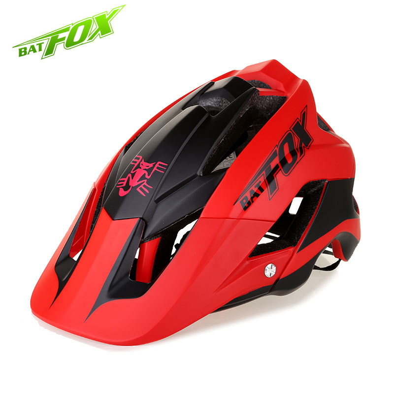 BATFOX Summer Sunscreen Brim Design Cycling Helmet Integrally Molded Ultralight Helmets Men Mtb Bike Bicycle Safe Cap Capacete brim skiing snowboard helmet adults winter safe skating cap bike motorcycle helmet suitable for 57 61cm head protector safe hats