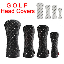 New Golf Headcover Rivets For Driver Fairway #3 #5 Hybrids Rescue Woods Clubs PU Leather Golf Head Covers For Golfer