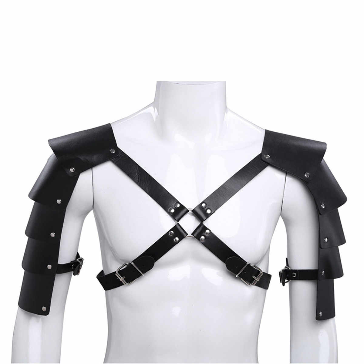 Men Medieval Costume Armors Cosplay Accessory Vintage Gothic Warrior  Shoulder PU Leather Harness Body Chest Harness Belt