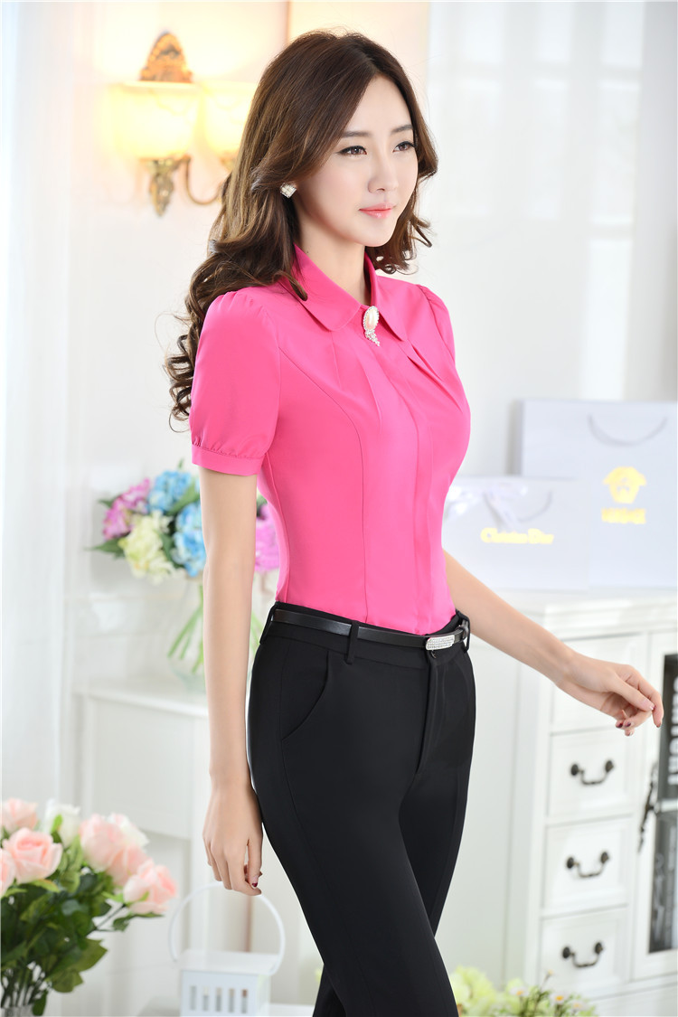Shirt design ladies 2015 - Aliexpress Com Buy New Formal Uniform Design 2015 Summer Pantsuits Women Office Suits With Pant And Blouses Sets Ladies Trousers Tops Shirts Sets From